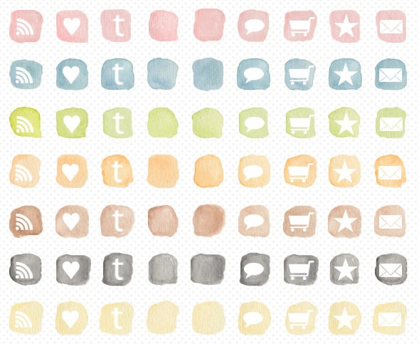 watercolour social media icons angie makes