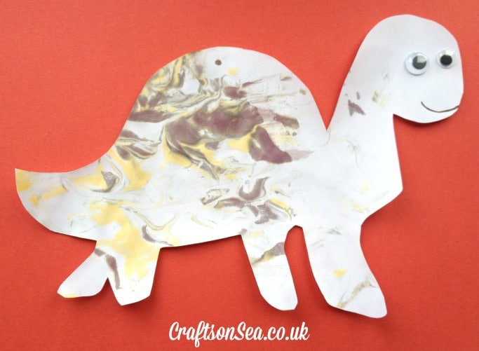 diplodocus dinosaur messy play marbled foam painting