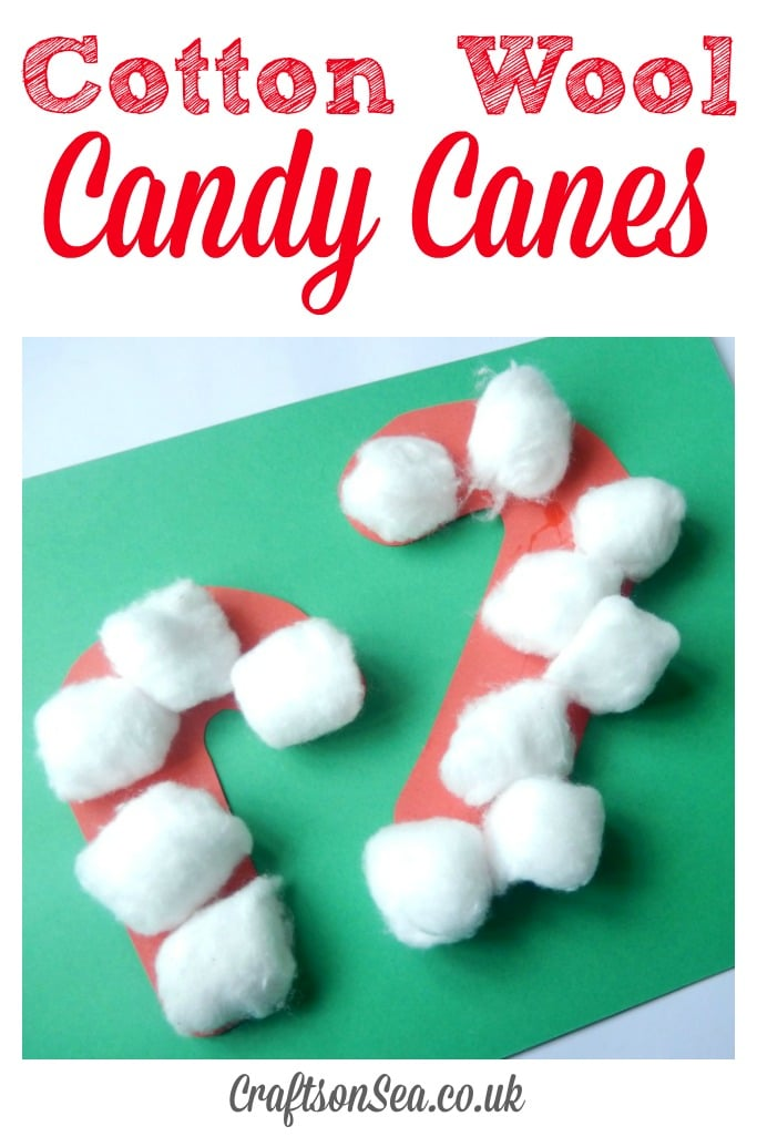 Cotton wool candy canes crafts on sea for Candy cane crafts for adults