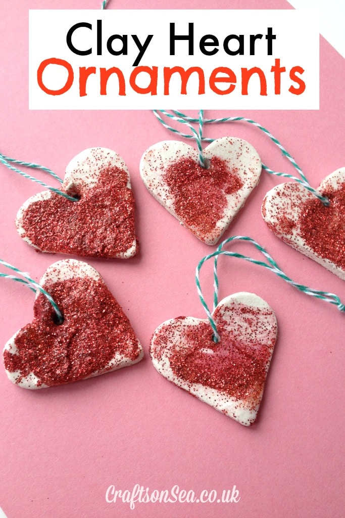 Clay heart ornaments Valentines day crafts for preschoolers
