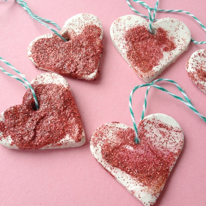 clay heart ornaments activity for valentines day