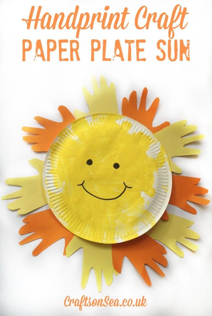 handprint craft paper plate sun