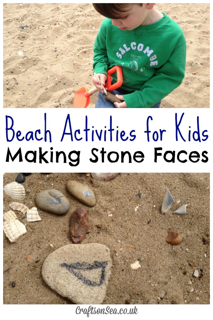 Beach Activites for Kids Making Stone Faces