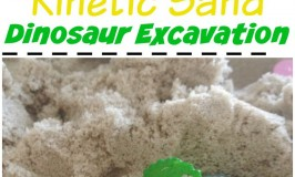 Kinetic sand dinosaur excavation activity for kids