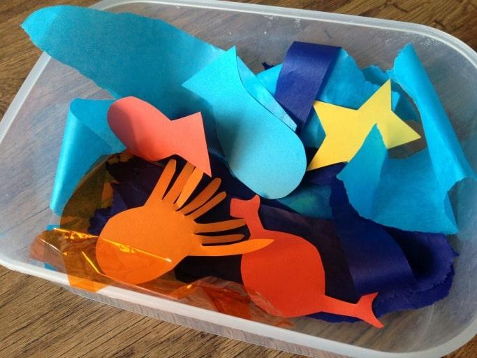 Ocean Themed Toddler Art box of materials