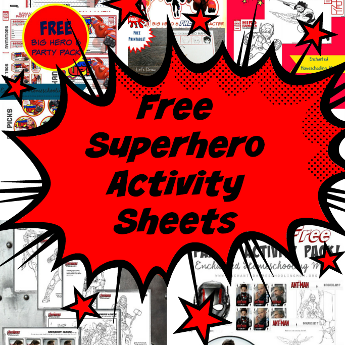 free superhero activity pages