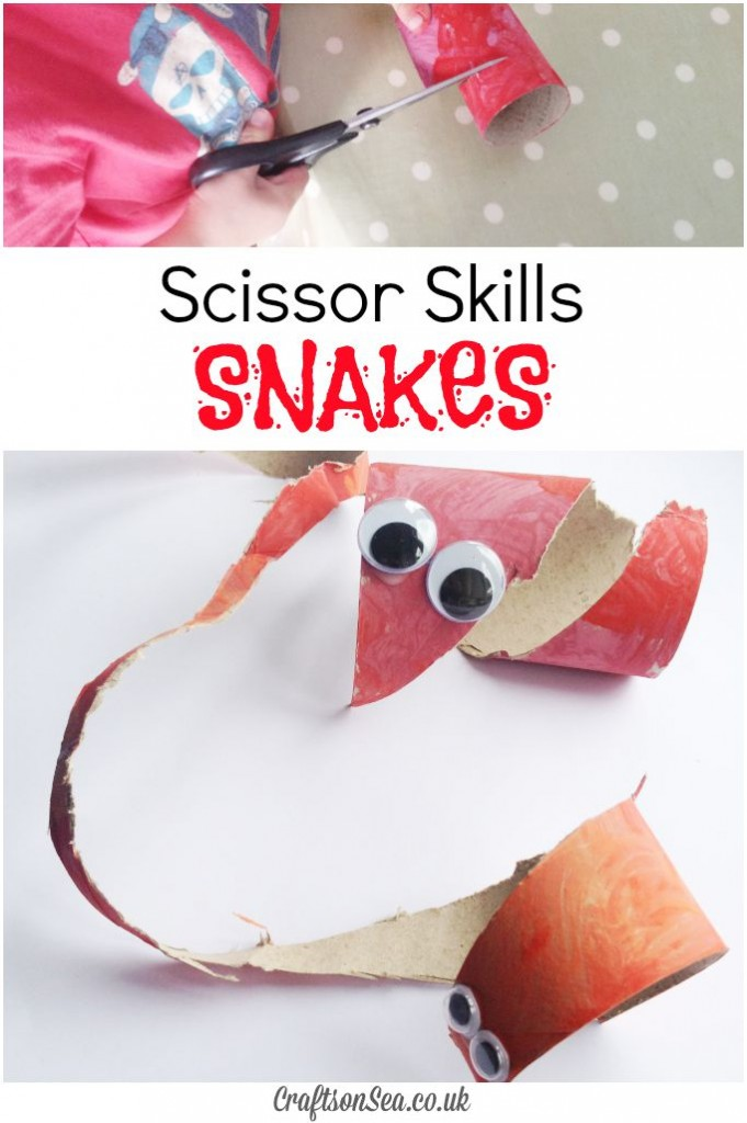 Scissor Skills Snakes Toilet Roll Craft