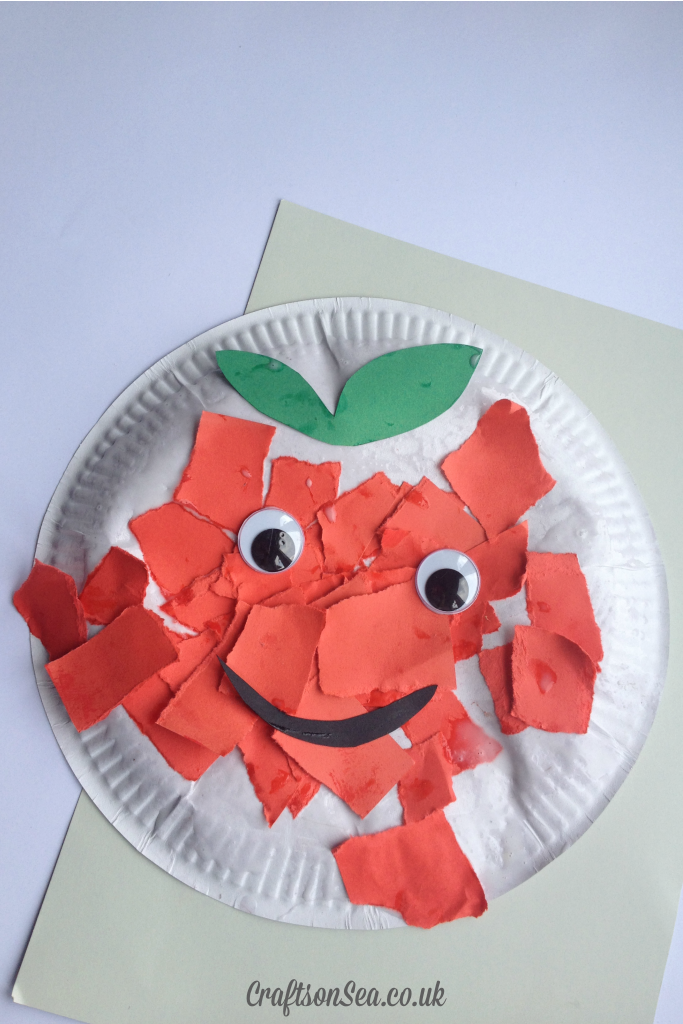 cute torn paper apple craft for kids