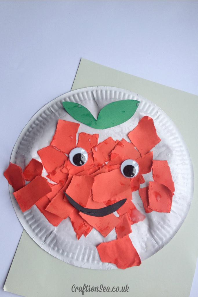 Torn Paper Apple Craft Crafts On Sea