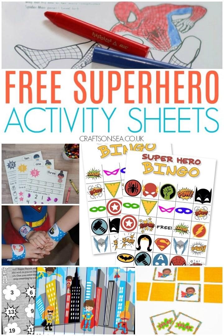 free superhero activity sheets for kids