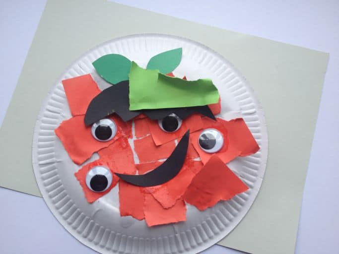 paper plate monster apple