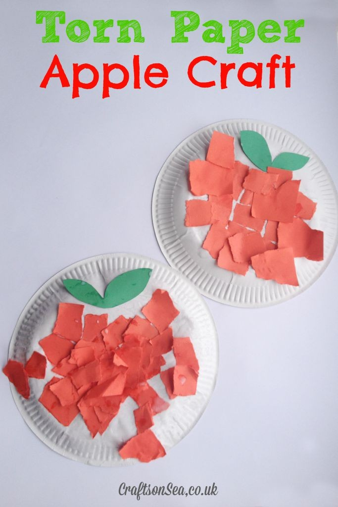 torn paper apple craft