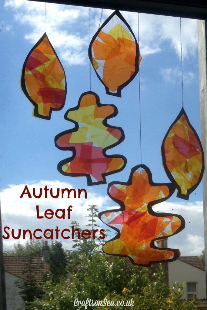 autumn leaf suncatchers crafts on sea. Black Bedroom Furniture Sets. Home Design Ideas