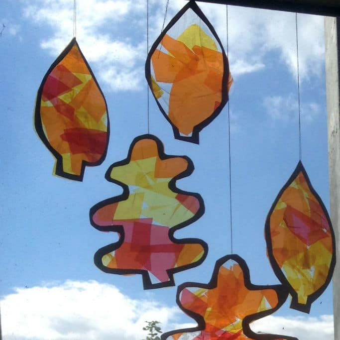 autumn leaves suncatcher craft square