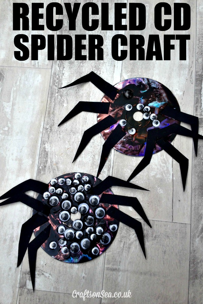 Recycled Cd Spider Craft For Kids Crafts On Sea