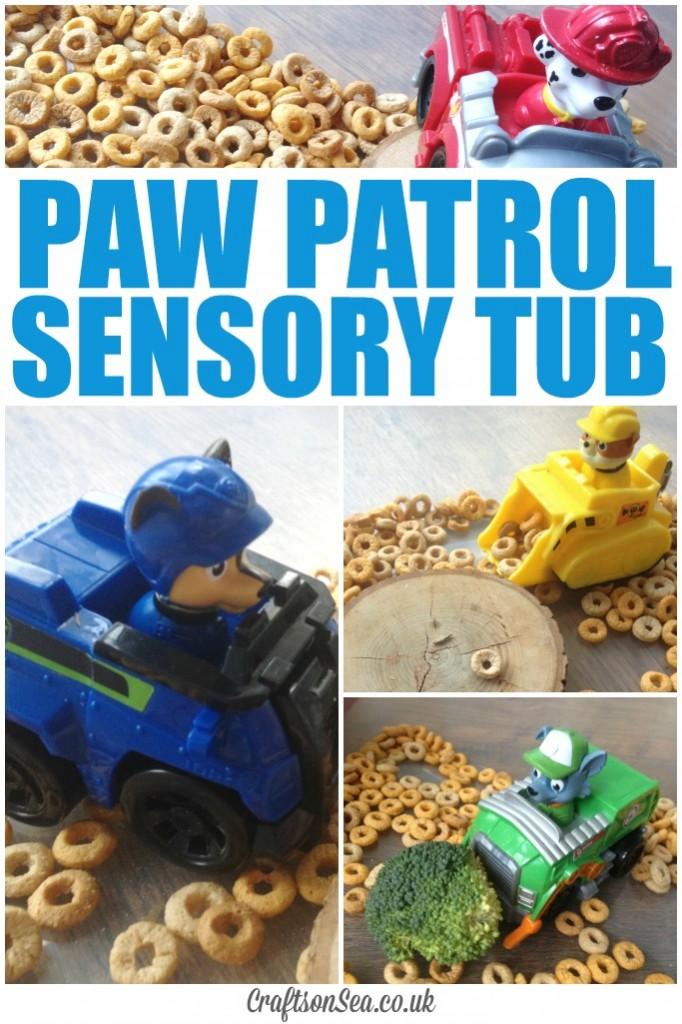 paw patrol activities sensory tub