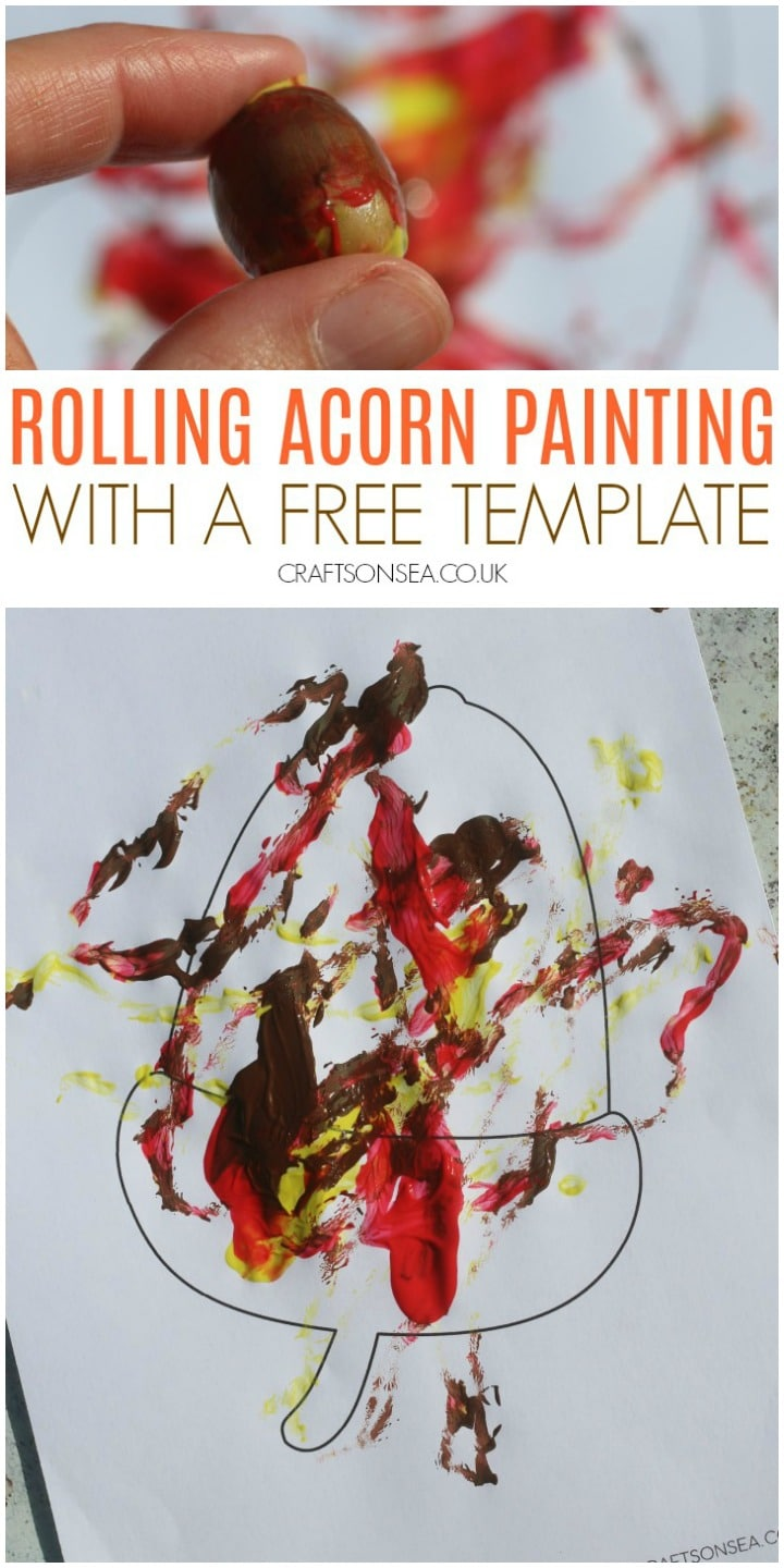 rolling acorn art project with a free template process art preschool