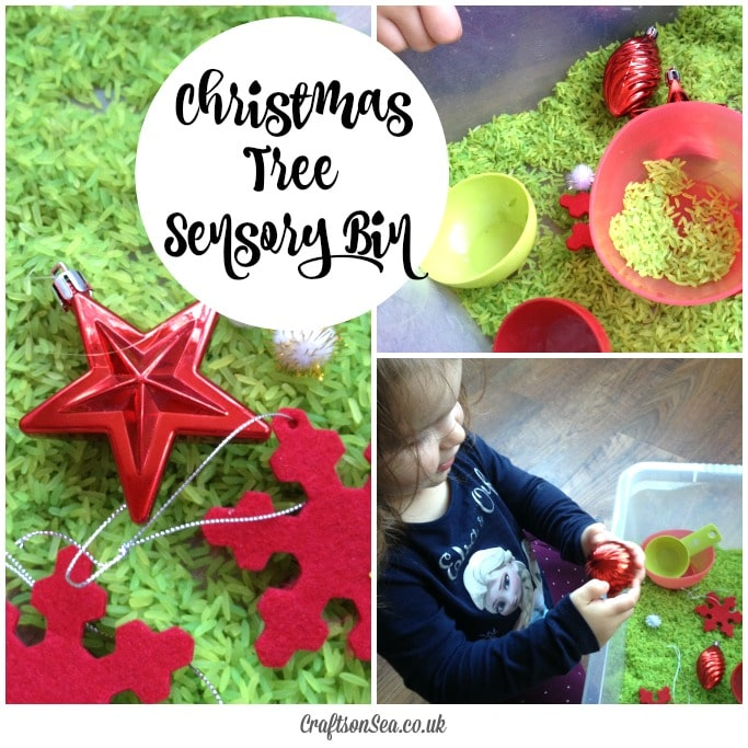 christmas tree sensory bin for preschoolers