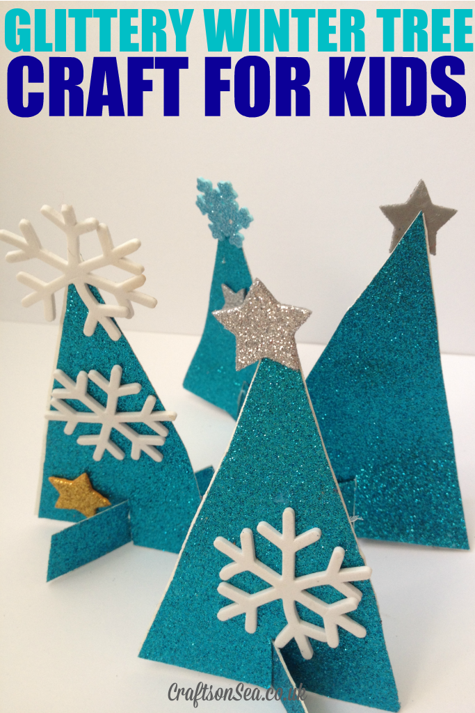 glittery winter tree craft for kids