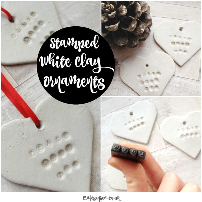 how to make stamped white clay ornaments
