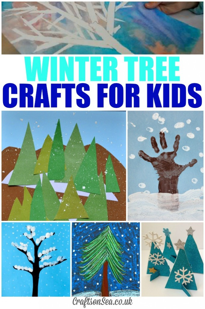 Glittery winter tree crafts for kids crafts on sea for How to make winter crafts