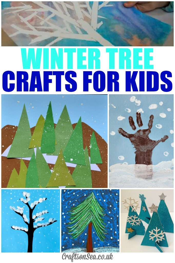 Glittery winter tree crafts for kids crafts on sea for Winter crafts for children