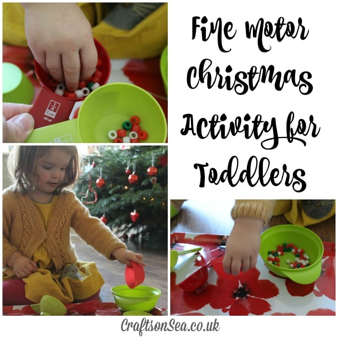 fine motor christmas activity for toddlers beads