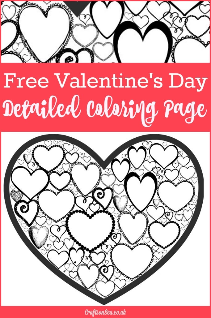 Free valentines day colouring page for adults crafts on sea for Valentines day online coloring pages