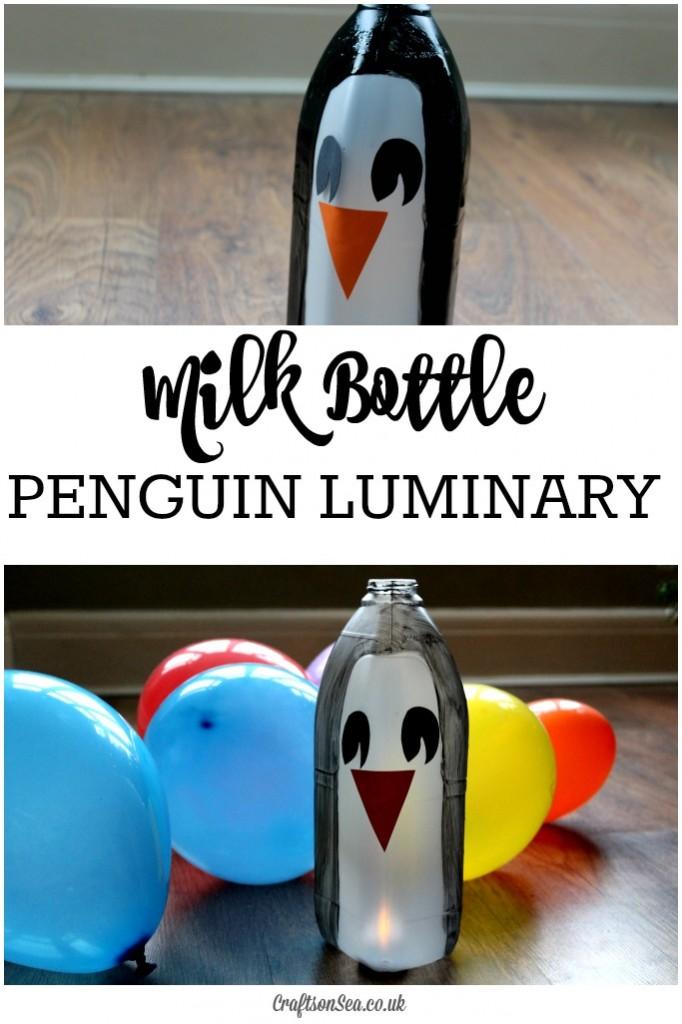 milk bottle penguin luminary