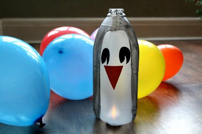 milk bottle penguin luminary craft for kids