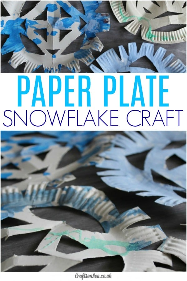 paper plate snowflake craft preschool toddlers #wintercrafts #preschool #snowcraft
