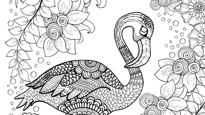 Free Flamingo Colouring Page For Adults Crafts On Sea