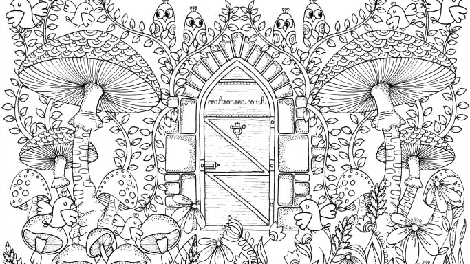 Free garden coloring page for adults crafts on sea for Garden coloring page