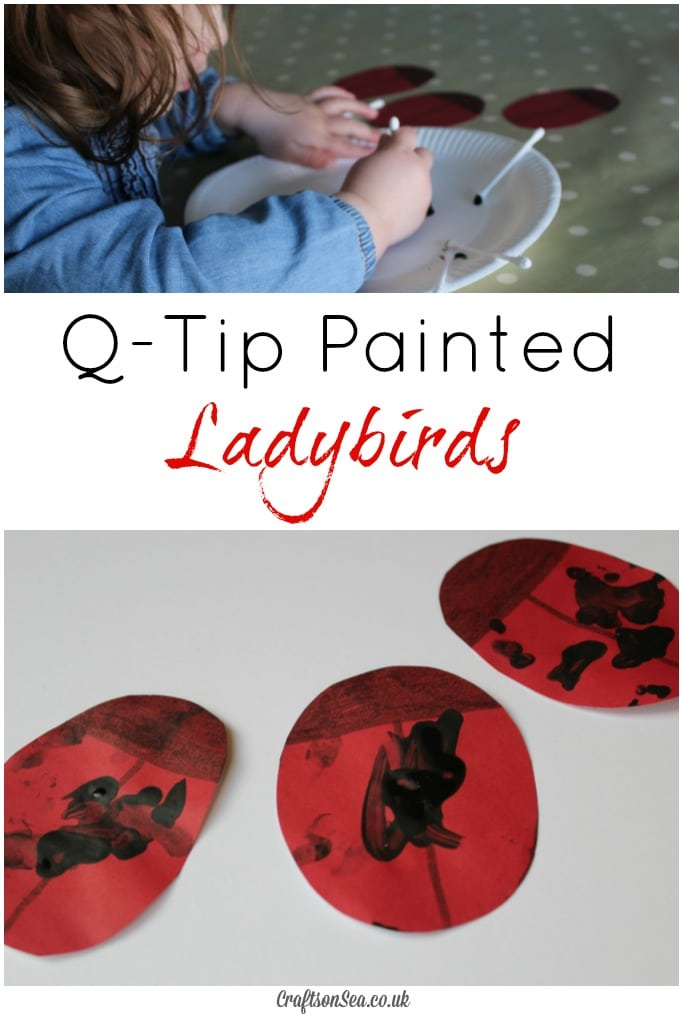 Q-Tip painted ladybirds craft for toddlers