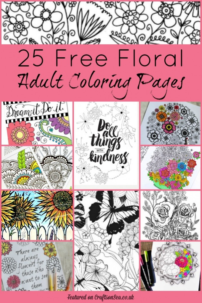 free floral adult coloring pages