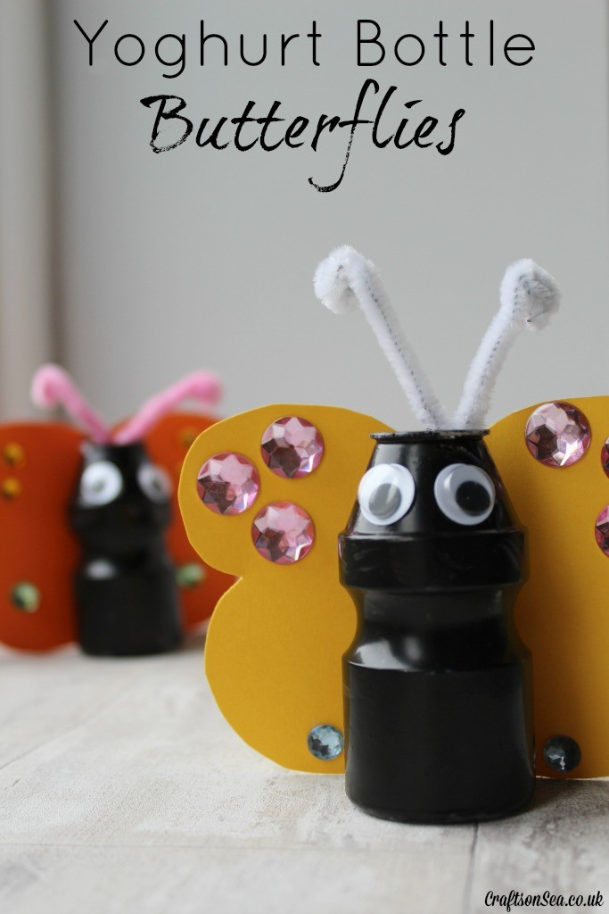 yoghurt bottle butterflies craft