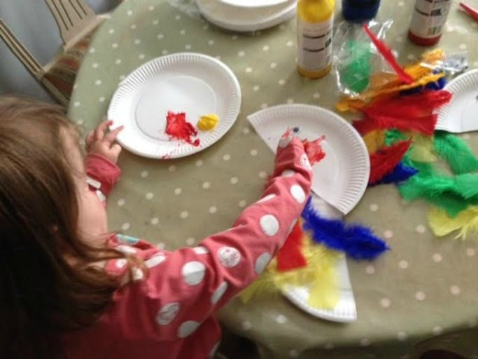 making paper plate parrots