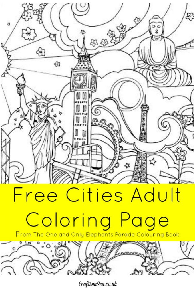 Free Cities Adult Coloring Page