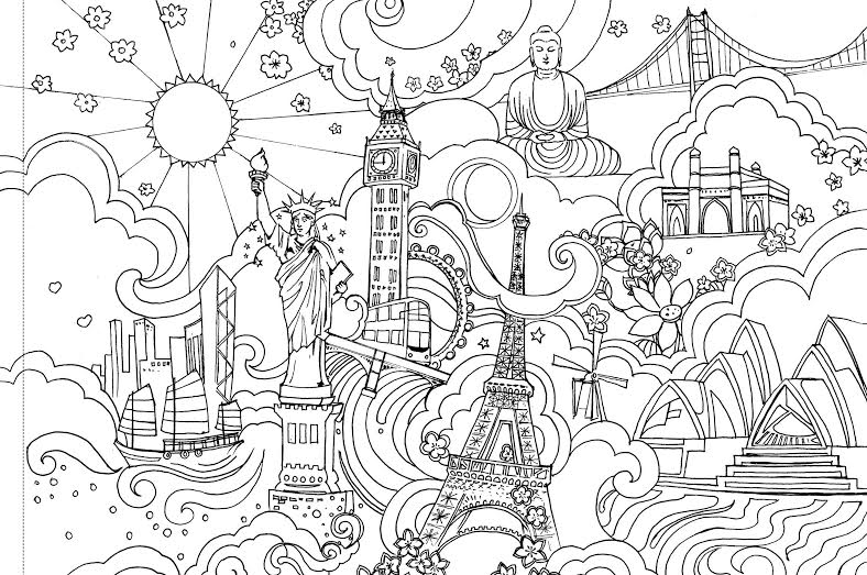 Cities Adult Colouring Page