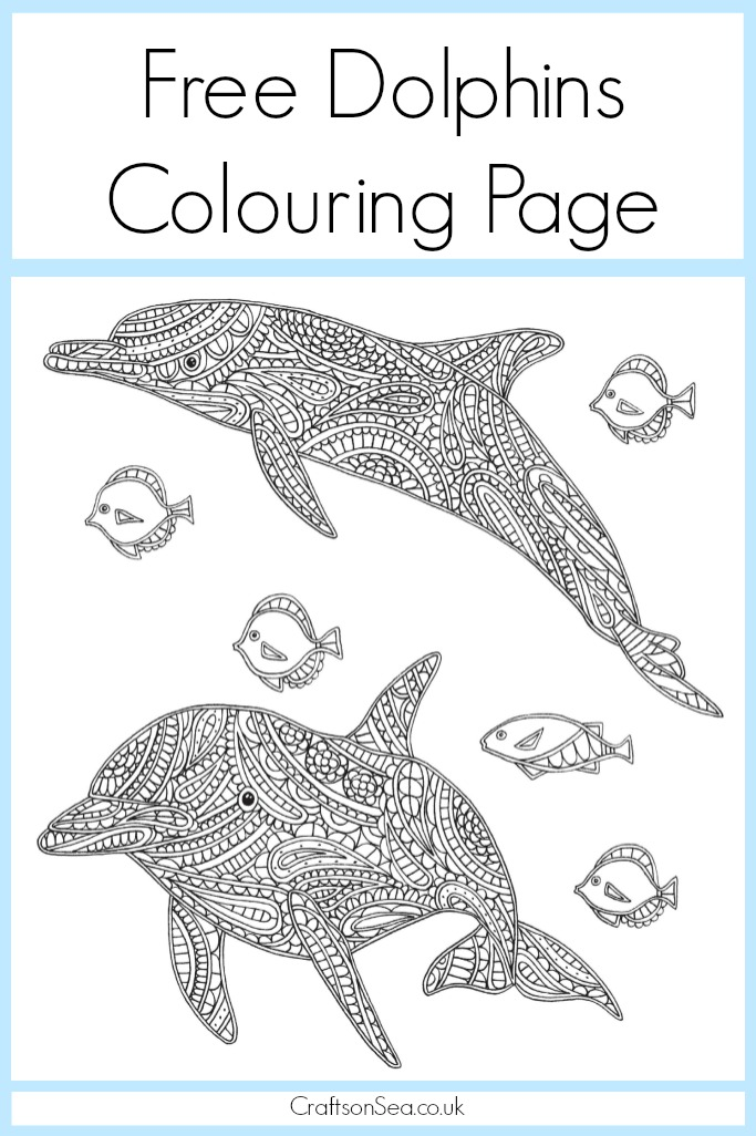 Free Dolphin Colouring Page for Adults - Crafts on Sea