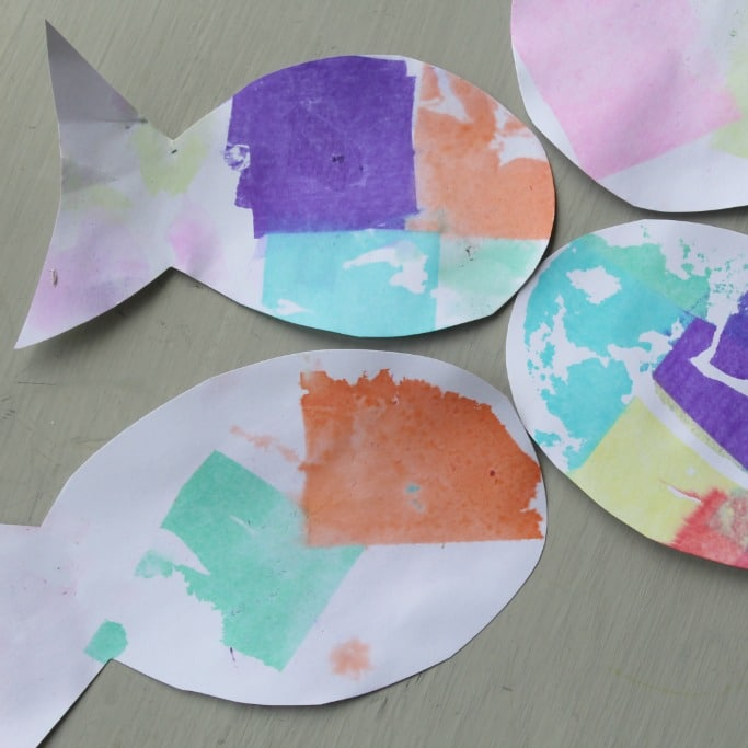 Tissue Paper Rainbow Fish Craft Crafts on Sea