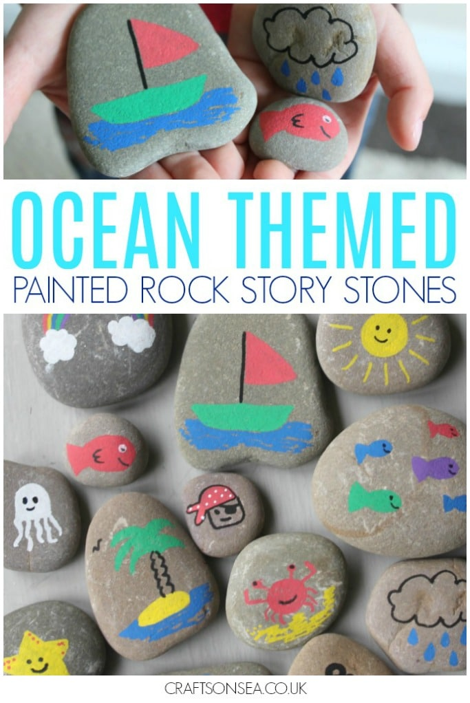 painted rocks kids or story stones ocean themed summer