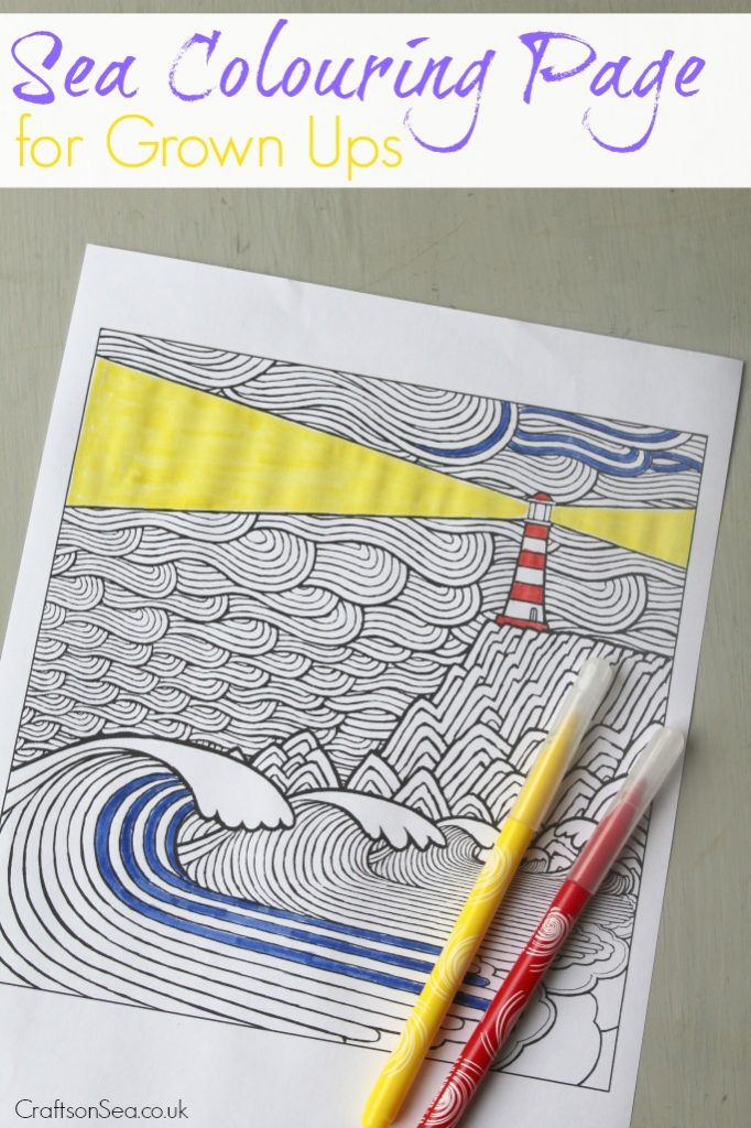 sea colouring page for grown ups