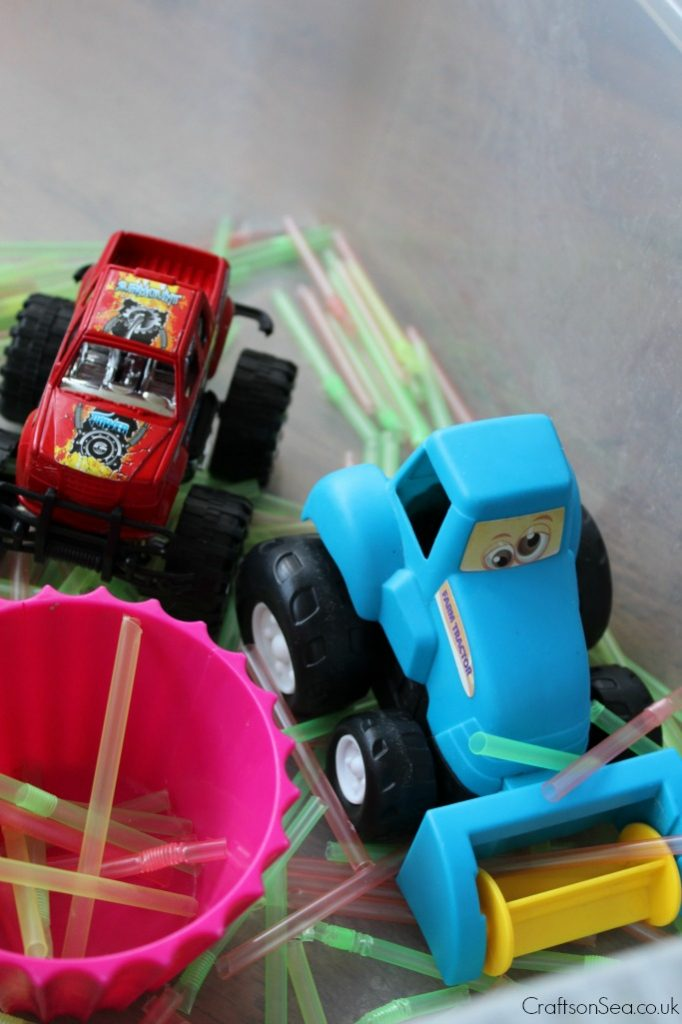 transport sensory bin toddler ideas