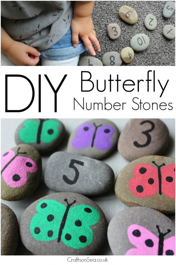 DIY butterfly number stones tutorial