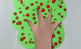 cotton bud apple tree craft for kids
