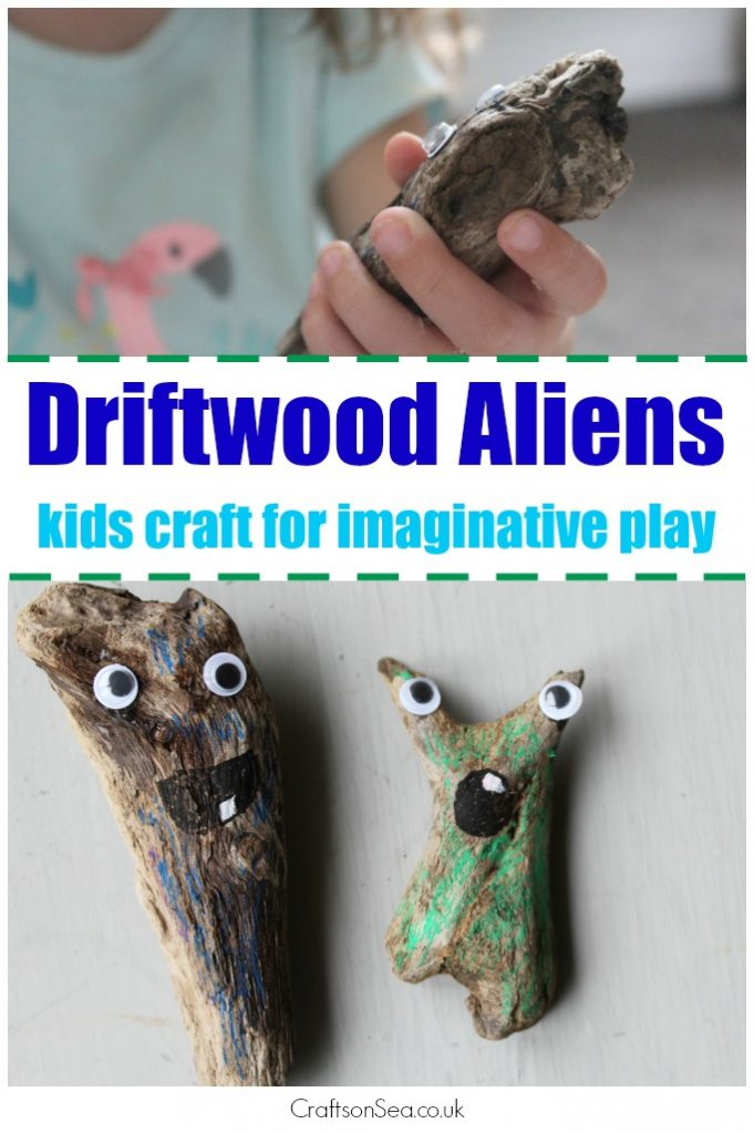 driftwood craft for kids make aliens