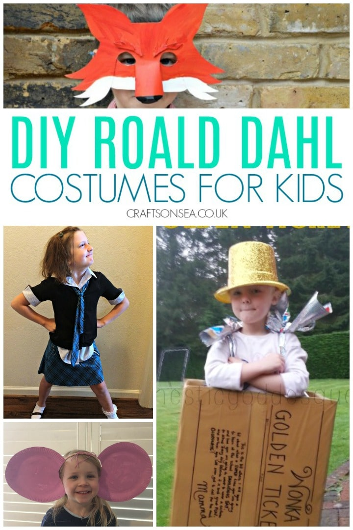 DIY Roald Dahl Costumes for Kids BFG costume, matilda costume fantastic mr fox and golden ticket