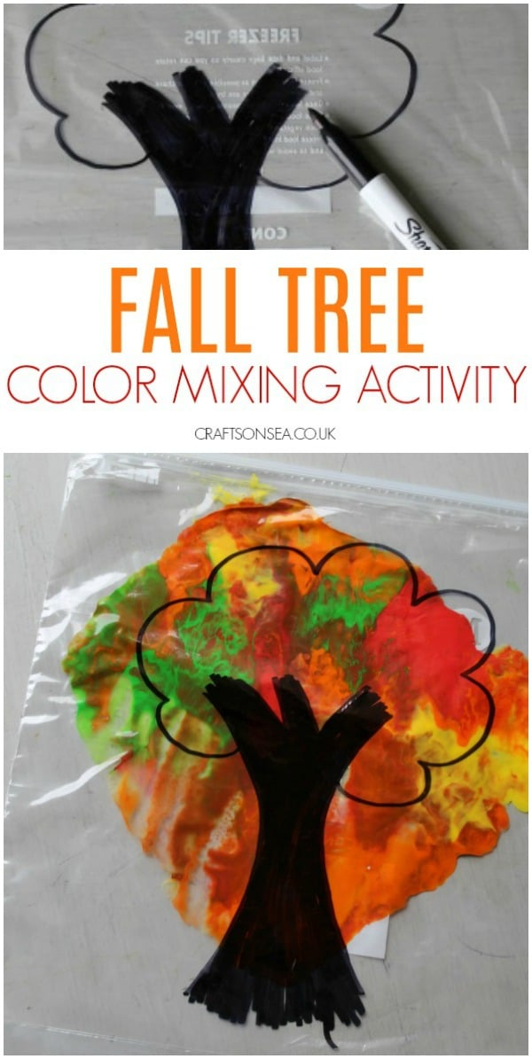 fall tree color mixing activity for kids preschool #fallactivities #preschool
