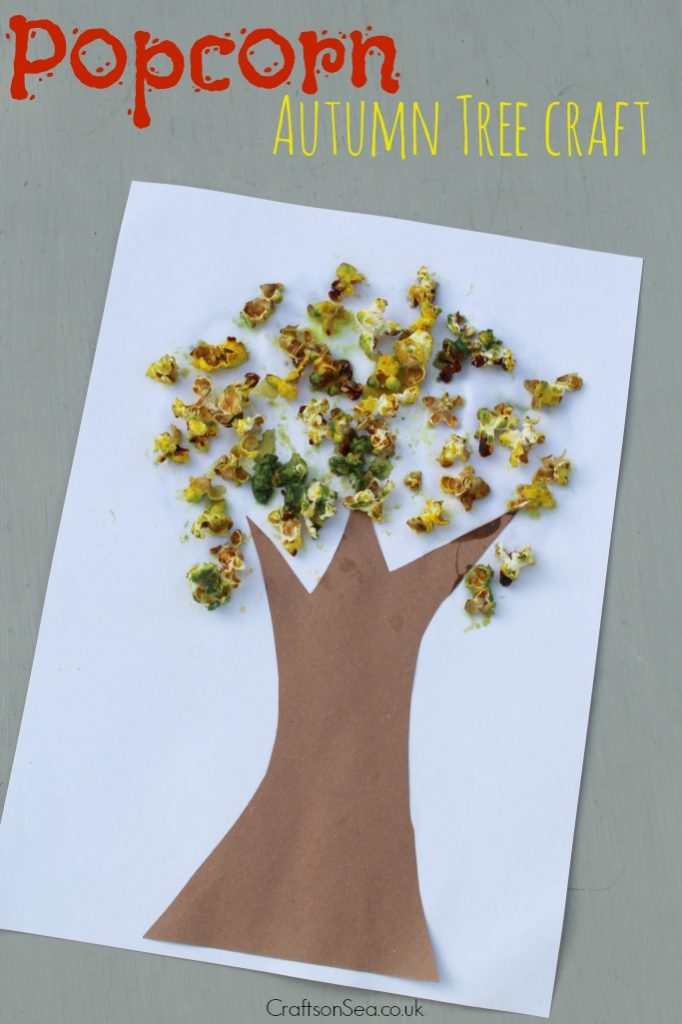 popcorn autumn tree craft